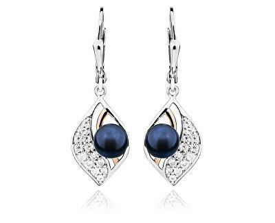 Stříbrné náušnice s pravými tmavými perlami SVLE0247SH8P500