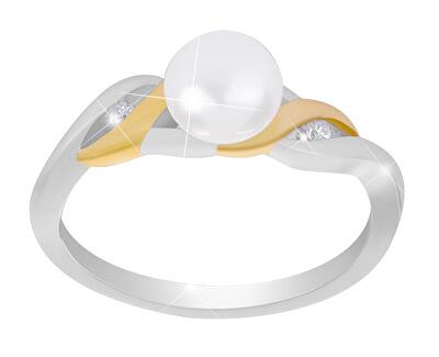 Stříbrný bicolor prsten s pravou perlou SVLR0005SH8P1