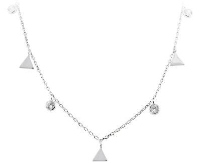 Stříbrný náhrdelník s trojúhelníky SVLN0261SH2BI42