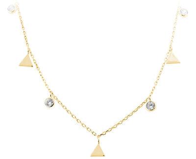 Stříbrný náhrdelník s trojúhelníky SVLN0261SH2GO42
