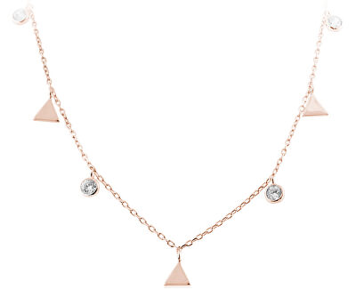 Stříbrný náhrdelník s trojúhelníky SVLN0261SH2RO42