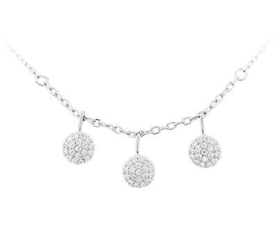 Stříbrný náhrdelník s třpytivými přívěsky SVLN0122X0045