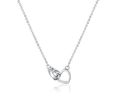 Stříbrný náhrdelník Spojená srdce SVLN0051XD50045