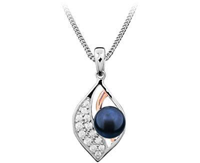 Stříbrný přívěsek s pravou tmavou perlou SVLP0247SH8P500