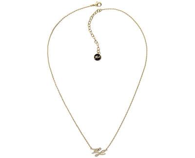 Pozlacený náhrdelník s třpytivými krystaly KL Script Logo 5512209