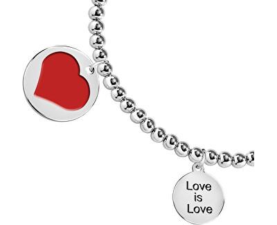 Zamilovaný ocelový náramek s přívěsky Love LPS05ASD11