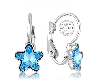 Dívčí náušnice s tyrkysovým krystalem STARBLOOM