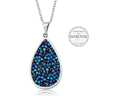 Nádherný náhrdelník s krystaly SS Rocks Pear 24 bermuda blue