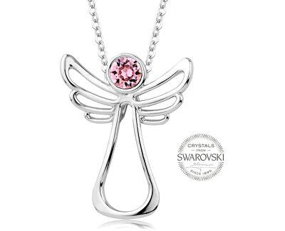 Náhrdelník s růžovým krystalem Guardian Angel