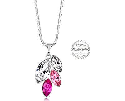 Náhrdelník se čtyřmi růžovými krystaly Navette