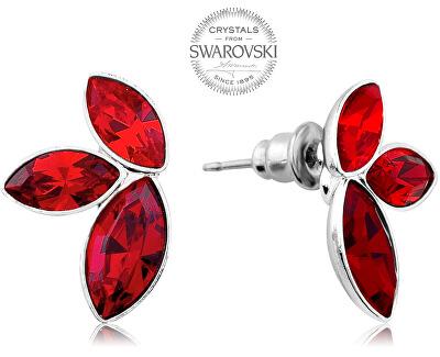 Náušnice se třemi červenými krystaly Navette