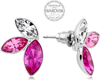 Náušnice se třemi krystaly v růžových odstínech Navette