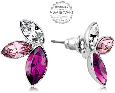 Náušnice se třemi krystaly ve fialových odstínech Navette