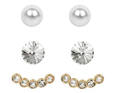 Levien Náušnice Set Ear Cuff 4 v 1 Gold Crystal White
