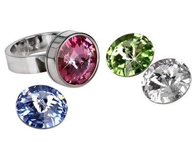 Levien Ocelový prsten Change & Go se 3 krystaly na výměnu