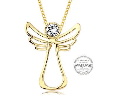 Pozlacený náhrdelník s čirým krystalem Guardian Angel