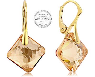 Náušnice se zlatavými krystaly Princess