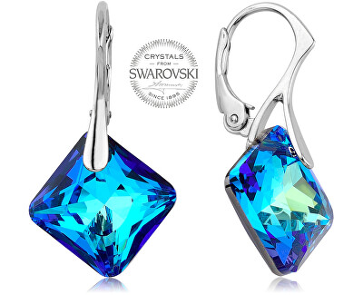 Třpytivé náušnice s modrými krystaly Princess