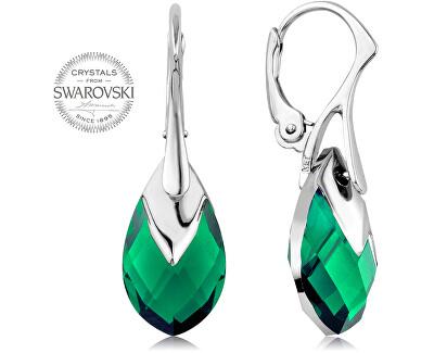 Třpytivé náušnice se zelenými krystaly Pear Metcap