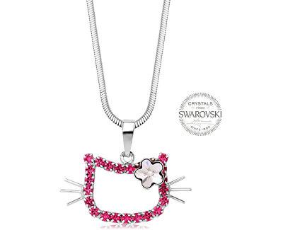 Dívčí náhrdelník Kočička s kytičkou Rose
