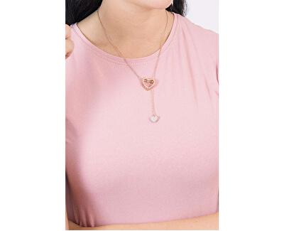 Růžově zlacený ocelový náhrdelník LJ1188