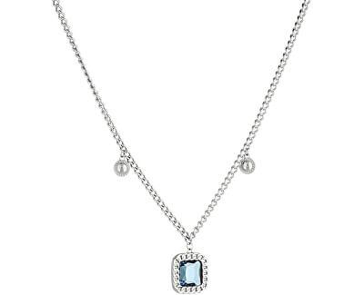 Dvojitý ocelový náhrdelník s modrým krystalem LJ1278