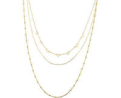 Pozlacený trojitý náhrdelník z oceli LJ1427