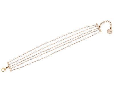 Růžově zlacený ocelový náramek s perličkami a krystaly LJ1480