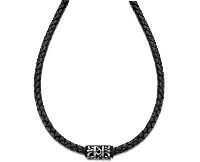 Černý kožený náhrdelník LS2069-1/2