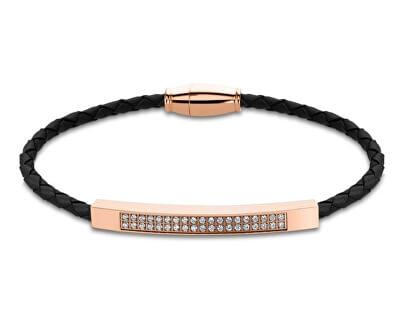 Černý kožený náramek s krystaly LS2004-2/6