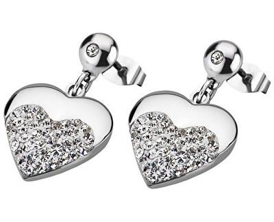 în formă de inimă cercei din oțel cu cristale LS1769-4 / 1