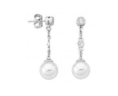 Majorica Dlouhé stříbrné náušnice s pravou perlou a kamínky 14566.01.2.000.010.1