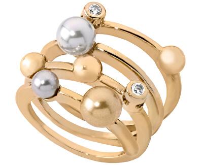 Spirálový pozlacený prsten s perlami 10554.34.1.911.010.1