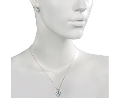 Souprava šperků Srdíčko Aquamarine 34115 (náušnice, řetízek, přívěsek)