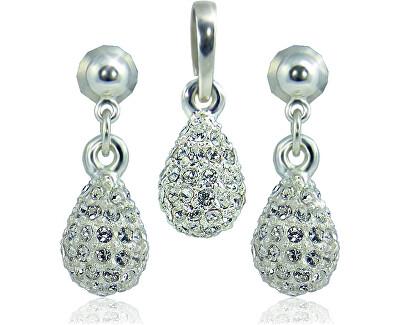 Souprava šperků Kapka M4 Crystal 3401 (náušnice, řetízek, přívěsek)