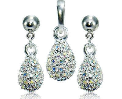Souprava šperků Kapka M4 Crystal AB 3484 (náušnice, řetízek, přívěsek)