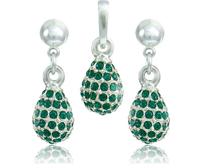 Souprava šperků Kapka M4 Emerald 3485 (náušnice, řetízek, přívěsek)