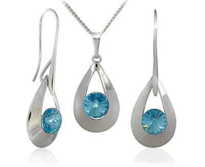Souprava šperků Karen 2 Aquamarine 34167 (náušnice, řetízek, přívěsek)