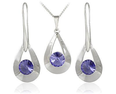 Souprava šperků Karen 2 Tanzanite 34178 (náušnice, řetízek, přívěsek)