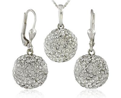 Souprava šperků Kuličky M5 Crystal 34157 (náušnice, řetízek, přívěsek)