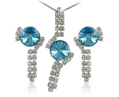 Souprava šperků Rivoli Aquamarine 34139 (náušnice, řetízek, přívěsek)