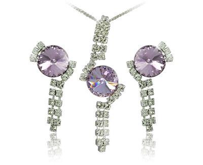 Souprava šperků Rivoli Violet 34142 (náušnice, řetízek, přívěsek)