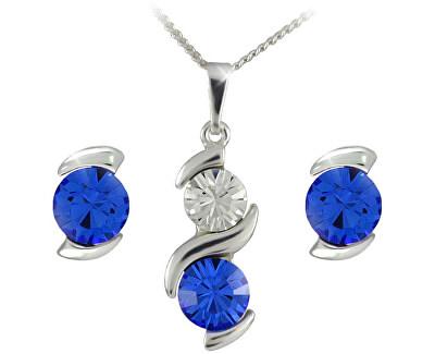 Souprava šperků Sisi Sapphire 34148 (náušnice, řetízek, přívěsek)