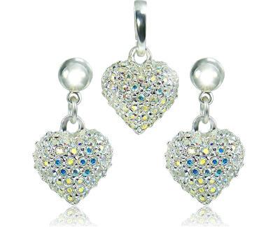 Souprava šperků Srdce M4 Crystal AB 3489 (náušnice, řetízek, přívěsek)