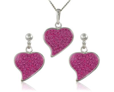 Souprava šperků Srdce M5 Rose 34166 (náušnice, řetízek, přívěsek)