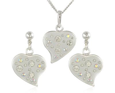 Souprava šperků Srdce M6 Crystal 34173 (náušnice, řetízek, přívěsek)
