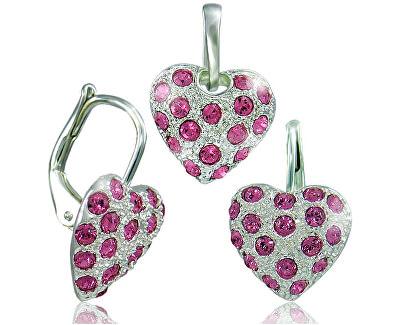 Souprava šperků Srdíčko růžová 34109 (náušnice, řetízek, přívěsek)