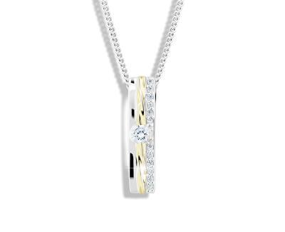 Bicolor strieborný náhrdelník so zirkónmi M46025 (retiazka, prívesok)
