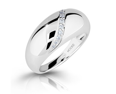 Modesi Nepřehlédnutelný stříbrný prsten se zirkony M16017