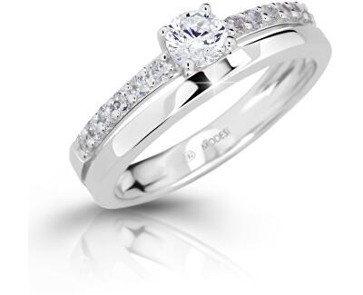 Modesi Slušivý prsten se zirkony M11102